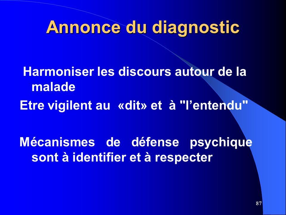 87 Annonce du diagnostic Harmoniser les discours autour de la malade Etre vigilent au «dit» et à