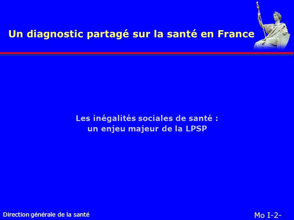 Direction générale de la santé Un diagnostic partagé sur la santé en France Direction générale de la santé Mo I-2-1 Les inégalités sociales de santé :