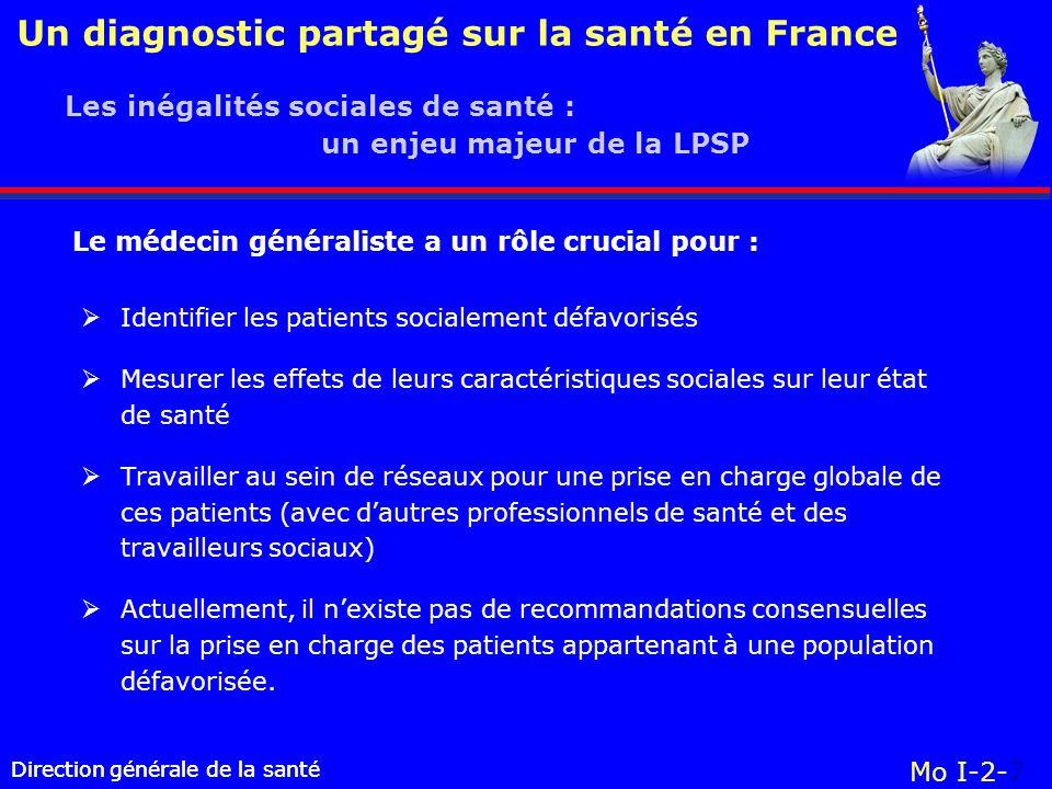 Direction générale de la santé Un diagnostic partagé sur la santé en France Direction générale de la santé Mo I-2-7 Identifier les patients socialemen