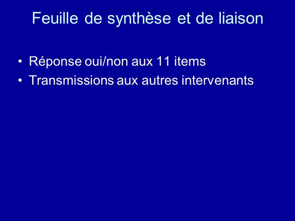 Feuille de synthèse et de liaison Réponse oui/non aux 11 items Transmissions aux autres intervenants