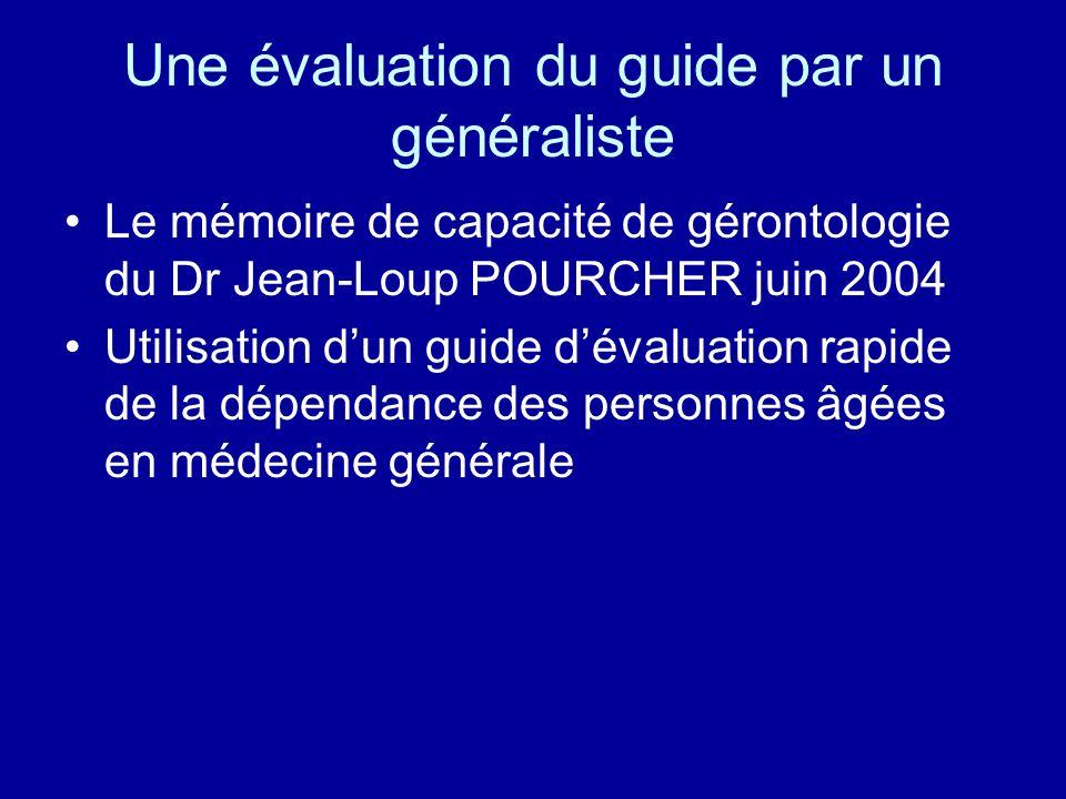 Une évaluation du guide par un généraliste Le mémoire de capacité de gérontologie du Dr Jean-Loup POURCHER juin 2004 Utilisation dun guide dévaluation