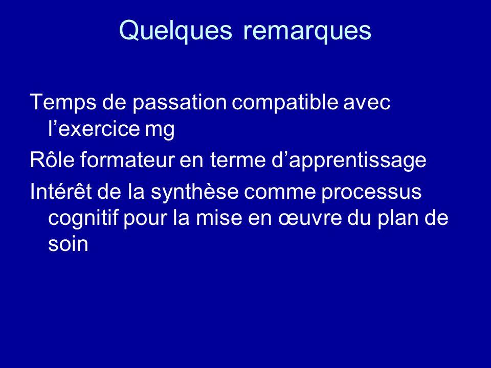 Quelques remarques Temps de passation compatible avec lexercice mg Rôle formateur en terme dapprentissage Intérêt de la synthèse comme processus cogni