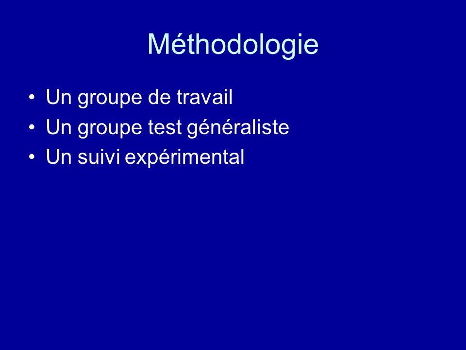 Méthodologie Un groupe de travail Un groupe test généraliste Un suivi expérimental