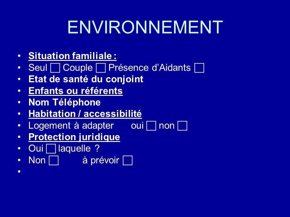 ENVIRONNEMENT Situation familiale : Seul Couple Présence dAidants Etat de santé du conjoint Enfants ou référents Nom Téléphone Habitation / accessibil