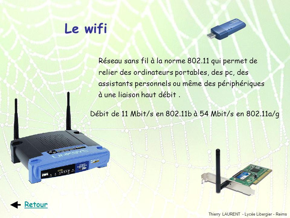 Thierry LAURENT - Lycée Libergier - Reims Le wifi Réseau sans fil à la norme 802.11 qui permet de relier des ordinateurs portables, des pc, des assist