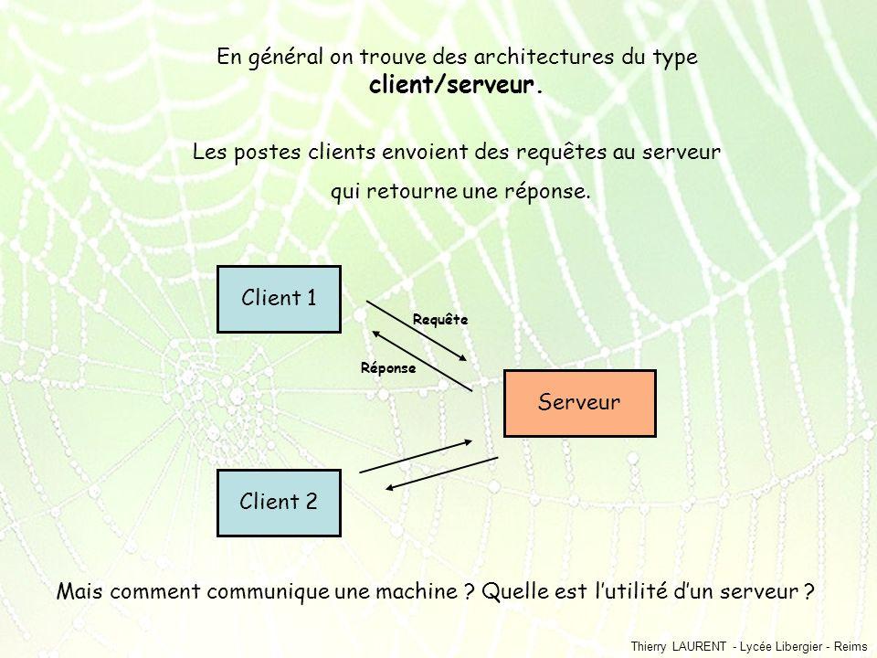 Thierry LAURENT - Lycée Libergier - Reims En général on trouve des architectures du type client/serveur. Les postes clients envoient des requêtes au s