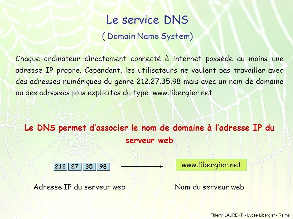 Thierry LAURENT - Lycée Libergier - Reims Le service DNS ( Domain Name System) Chaque ordinateur directement connecté à internet possède au moins une