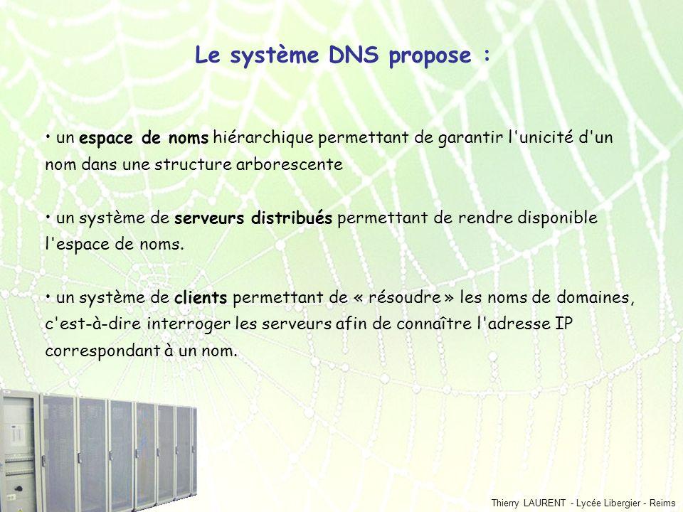 Thierry LAURENT - Lycée Libergier - Reims Le système DNS propose : un espace de noms hiérarchique permettant de garantir l'unicité d'un nom dans une s