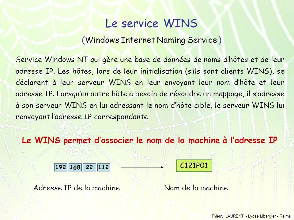 Thierry LAURENT - Lycée Libergier - Reims Le service WINS (Windows Internet Naming Service ) Service Windows NT qui gère une base de données de noms d