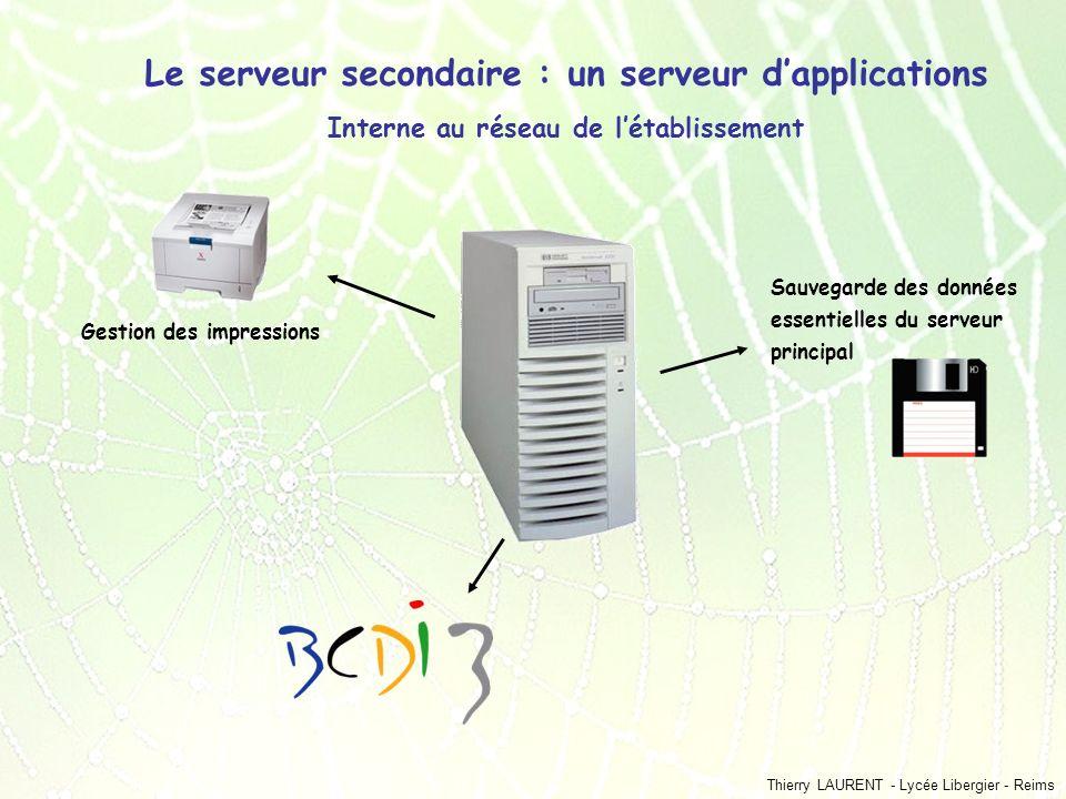 Thierry LAURENT - Lycée Libergier - Reims Le serveur secondaire : un serveur dapplications Interne au réseau de létablissement Gestion des impressions