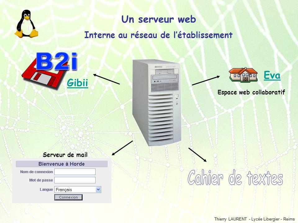 Thierry LAURENT - Lycée Libergier - Reims Un serveur web Interne au réseau de létablissement Gibii Serveur de mail Eva Espace web collaboratif