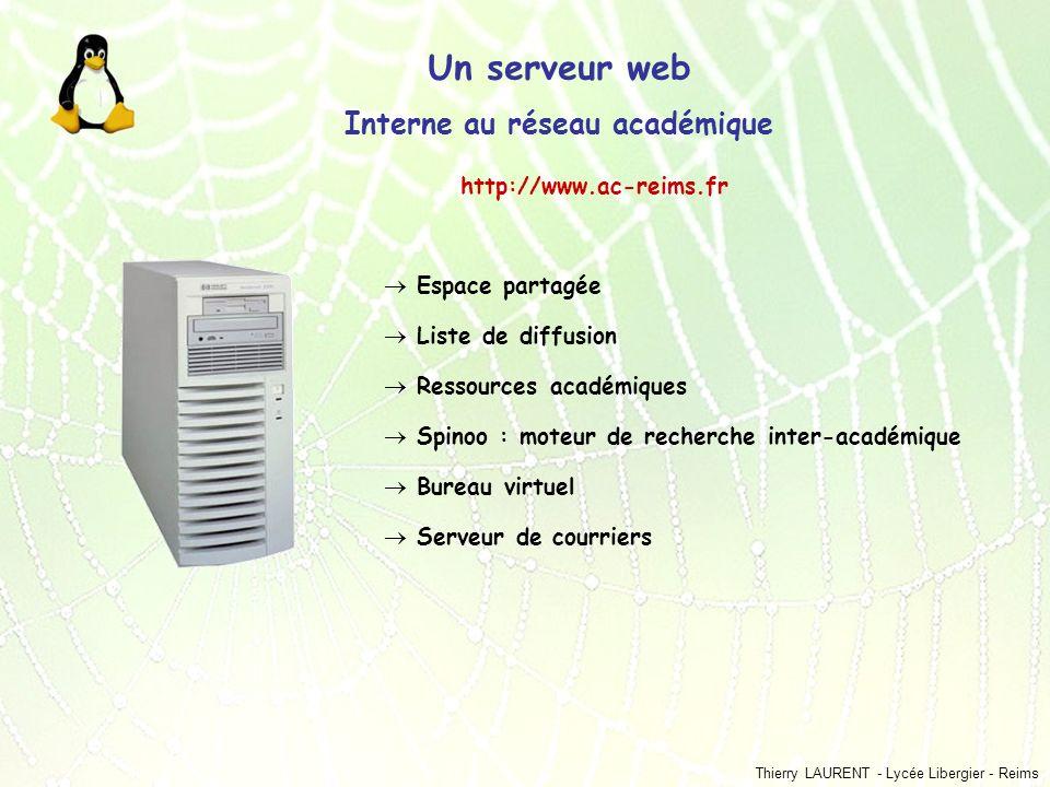 Thierry LAURENT - Lycée Libergier - Reims Un serveur web Interne au réseau académique Espace partagée Liste de diffusion Ressources académiques Spinoo