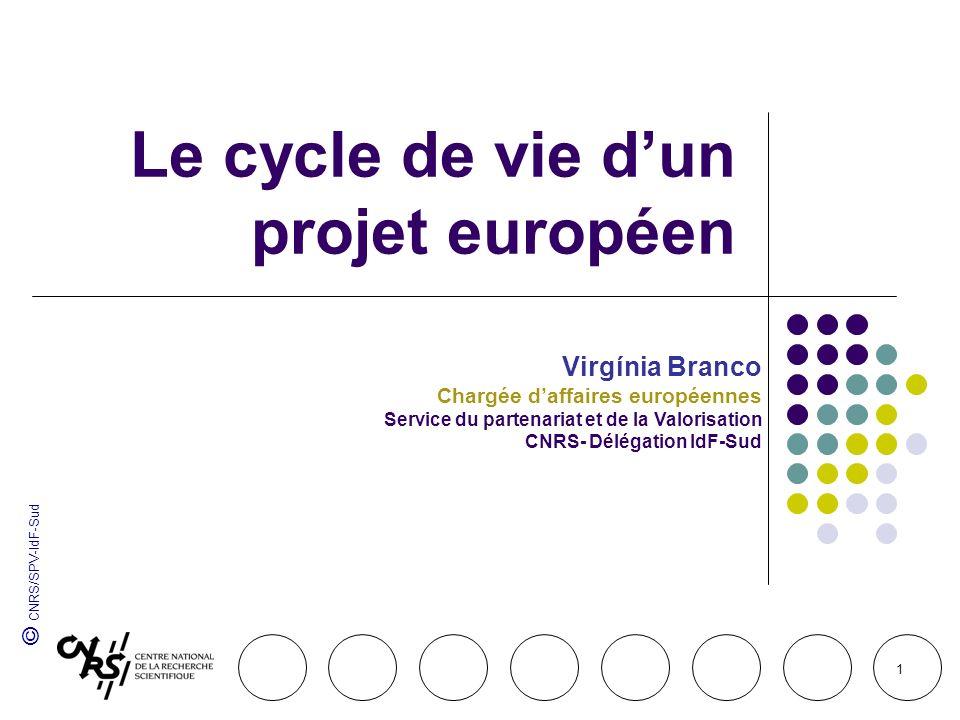 © CNRS/SPV-IdF-Sud 1 Le cycle de vie dun projet européen Virgínia Branco Chargée daffaires européennes Service du partenariat et de la Valorisation CN