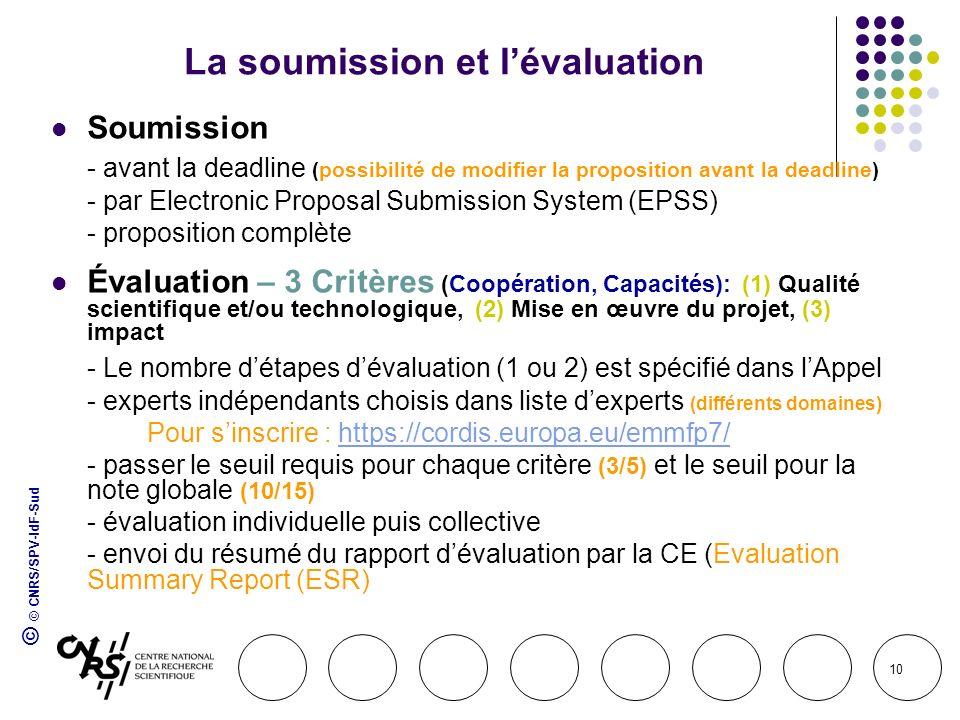 © © CNRS/SPV-IdF-Sud 10 La soumission et lévaluation Soumission - avant la deadline (possibilité de modifier la proposition avant la deadline) - par E