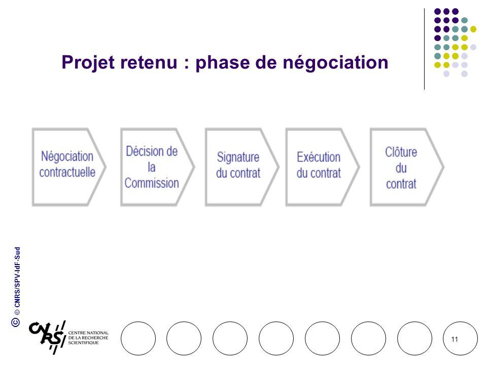 © © CNRS/SPV-IdF-Sud 11 Projet retenu : phase de négociation