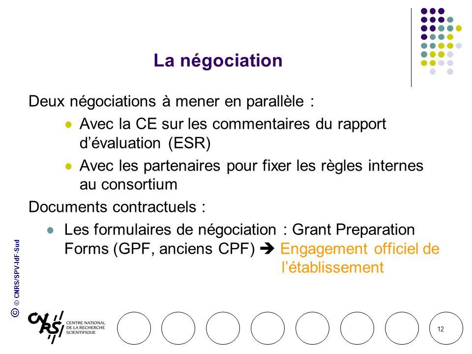 © © CNRS/SPV-IdF-Sud 12 La négociation Deux négociations à mener en parallèle : Avec la CE sur les commentaires du rapport dévaluation (ESR) Avec les