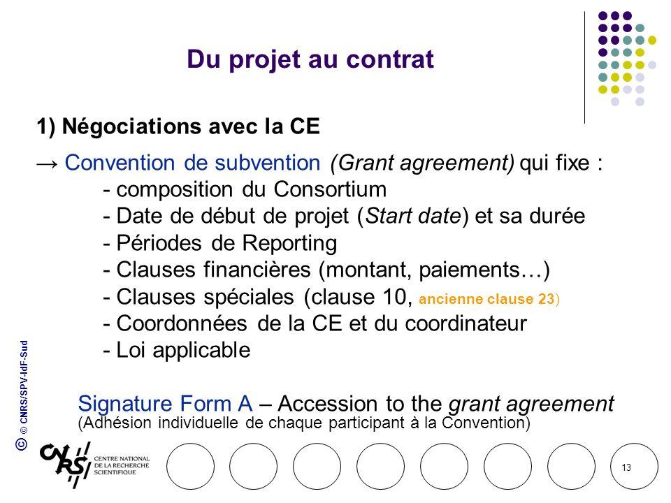 © © CNRS/SPV-IdF-Sud 13 Du projet au contrat 1) Négociations avec la CE Convention de subvention (Grant agreement) qui fixe : - composition du Consort
