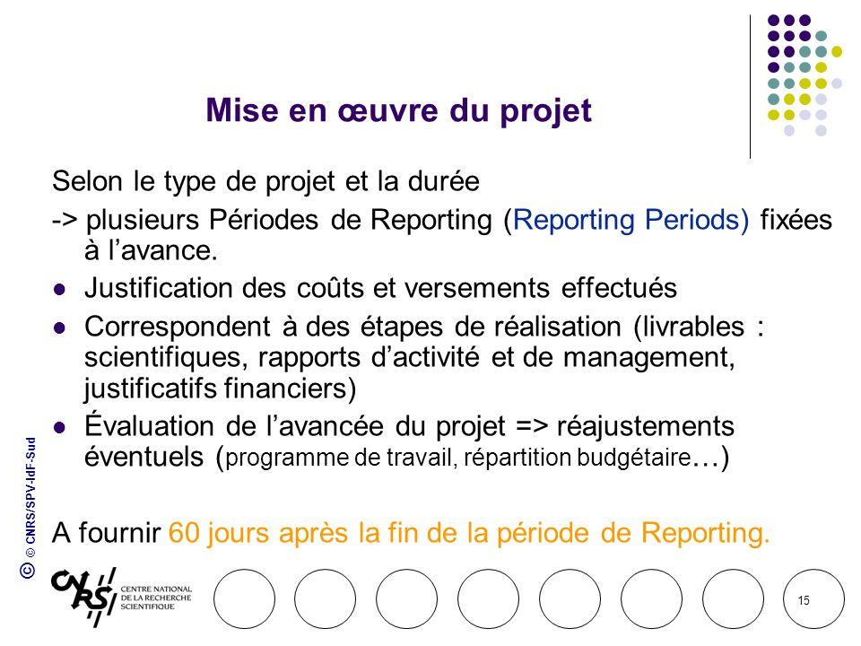 © © CNRS/SPV-IdF-Sud 15 Mise en œuvre du projet Selon le type de projet et la durée -> plusieurs Périodes de Reporting (Reporting Periods) fixées à la