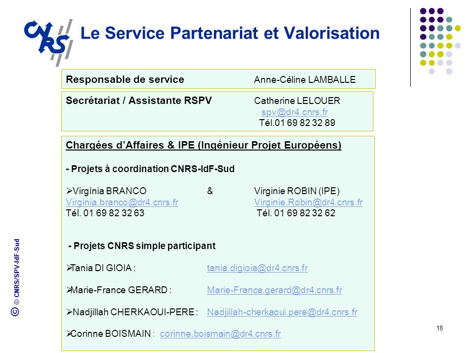 © © CNRS/SPV-IdF-Sud 18 Le Service Partenariat et Valorisation Secrétariat / Assistante RSPV Catherine LELOUER spv@dr4.cnrs.fr Tél.01 69 82 32 89 Char