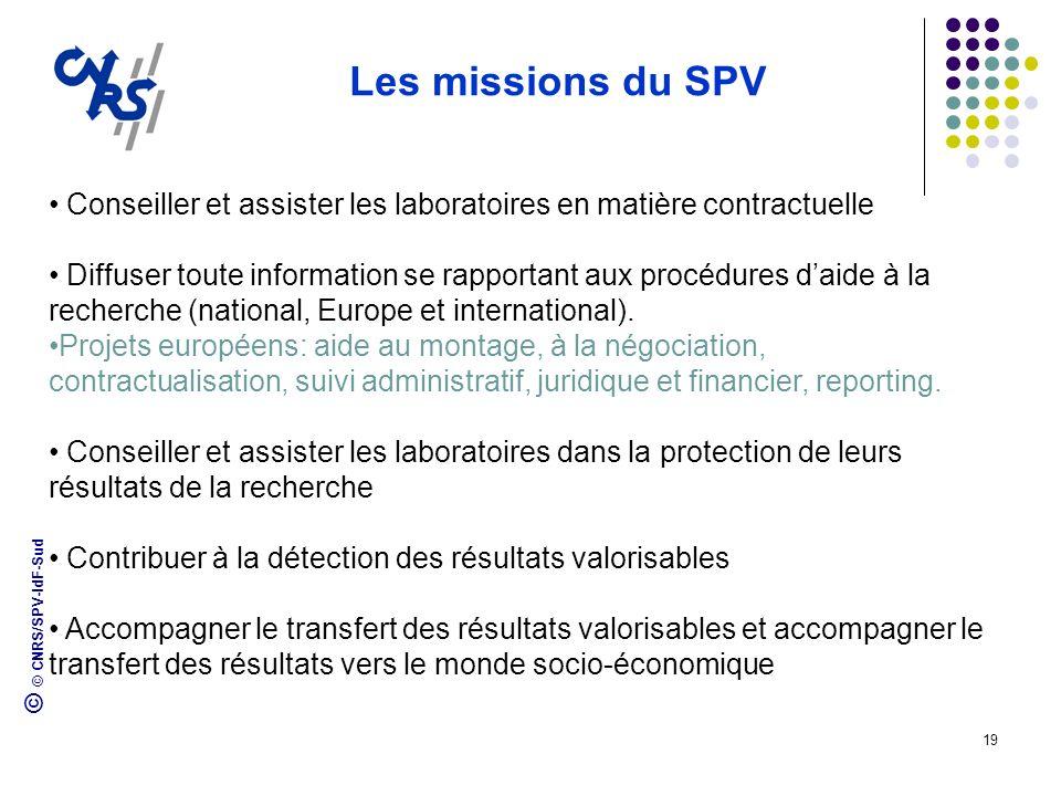 © © CNRS/SPV-IdF-Sud 19 Les missions du SPV Conseiller et assister les laboratoires en matière contractuelle Diffuser toute information se rapportant