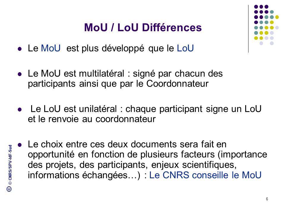© © CNRS/SPV-IdF-Sud 6 MoU / LoU Différences Le MoU est plus développé que le LoU Le MoU est multilatéral : signé par chacun des participants ainsi qu