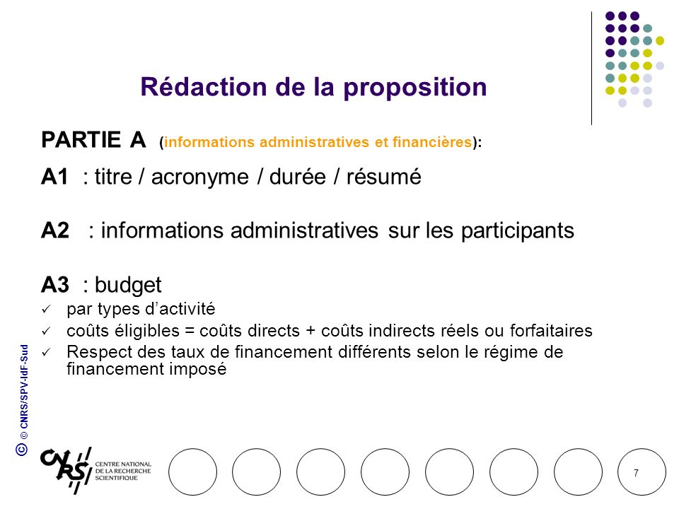 © © CNRS/SPV-IdF-Sud 7 Rédaction de la proposition PARTIE A (informations administratives et financières): A1 : titre / acronyme / durée / résumé A2 :