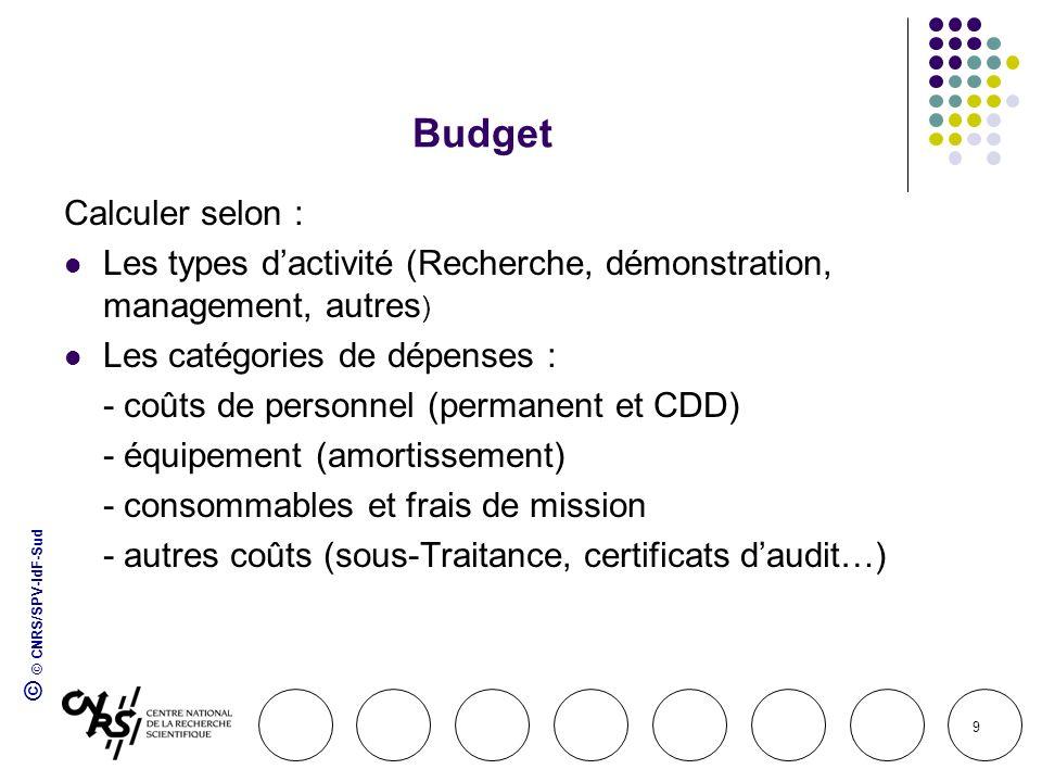 © © CNRS/SPV-IdF-Sud 9 Budget Calculer selon : Les types dactivité (Recherche, démonstration, management, autres ) Les catégories de dépenses : - coût