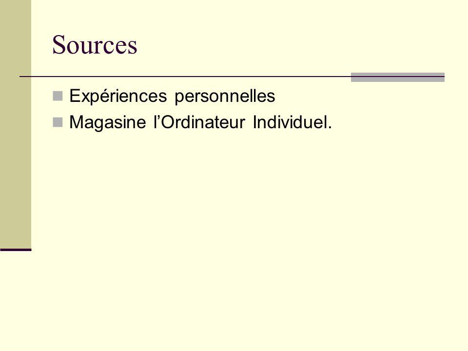 Sources Expériences personnelles Magasine lOrdinateur Individuel.