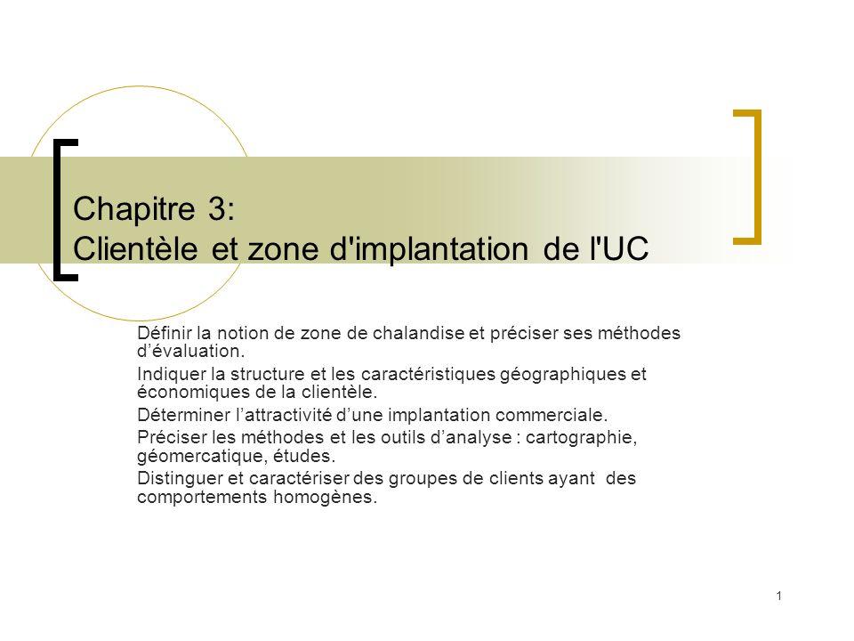 1 Chapitre 3: Clientèle et zone d'implantation de l'UC Définir la notion de zone de chalandise et préciser ses méthodes dévaluation. Indiquer la struc