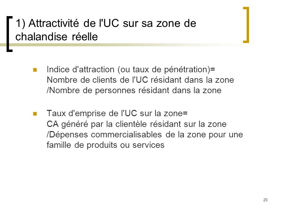 20 1) Attractivité de l'UC sur sa zone de chalandise réelle Indice d'attraction (ou taux de pénétration)= Nombre de clients de l'UC résidant dans la z