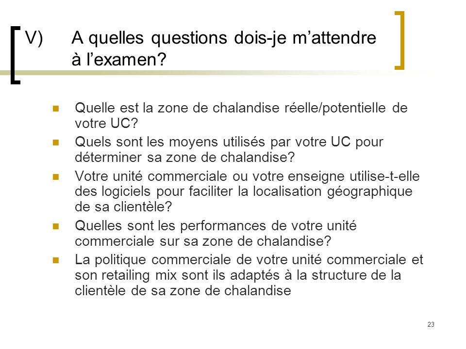 23 V) A quelles questions dois-je mattendre à lexamen? Quelle est la zone de chalandise réelle/potentielle de votre UC? Quels sont les moyens utilisés