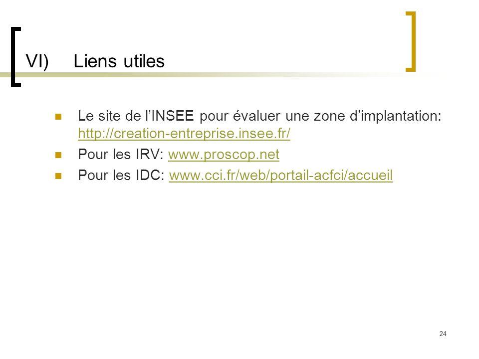 VI)Liens utiles Le site de lINSEE pour évaluer une zone dimplantation: http://creation-entreprise.insee.fr/ http://creation-entreprise.insee.fr/ Pour