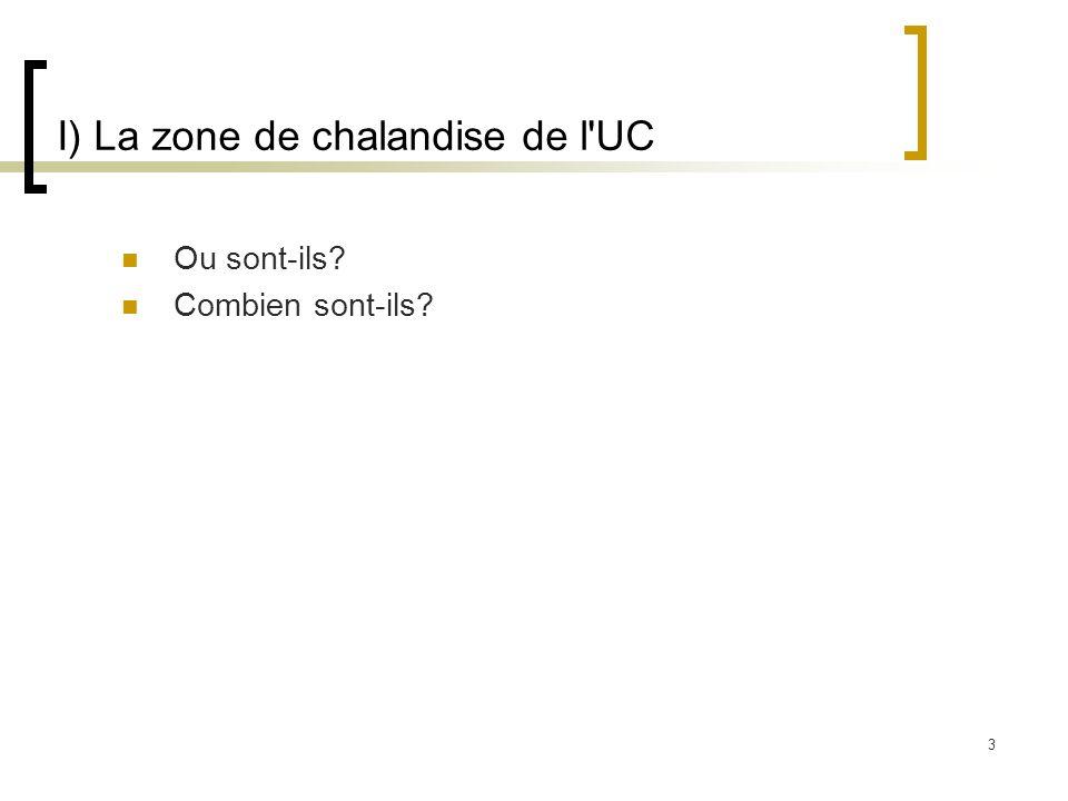 3 I) La zone de chalandise de l'UC Ou sont-ils? Combien sont-ils?