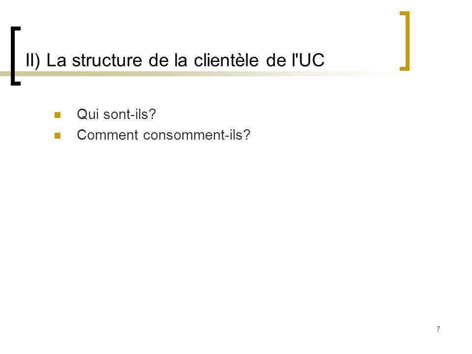 7 II) La structure de la clientèle de l'UC Qui sont-ils? Comment consomment-ils?
