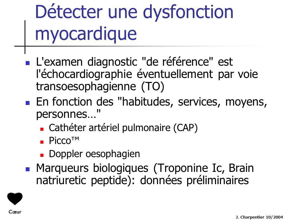 J. Charpentier 10/2004 Détecter une dysfonction myocardique L'examen diagnostic