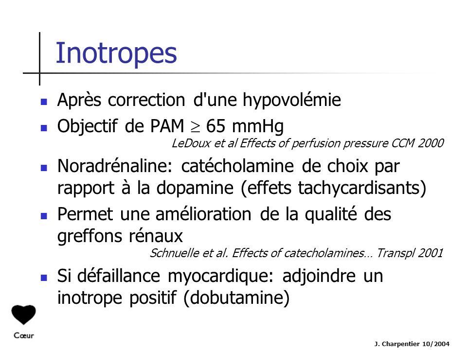 J. Charpentier 10/2004 Inotropes Après correction d'une hypovolémie Objectif de PAM 65 mmHg LeDoux et al Effects of perfusion pressure CCM 2000 Noradr