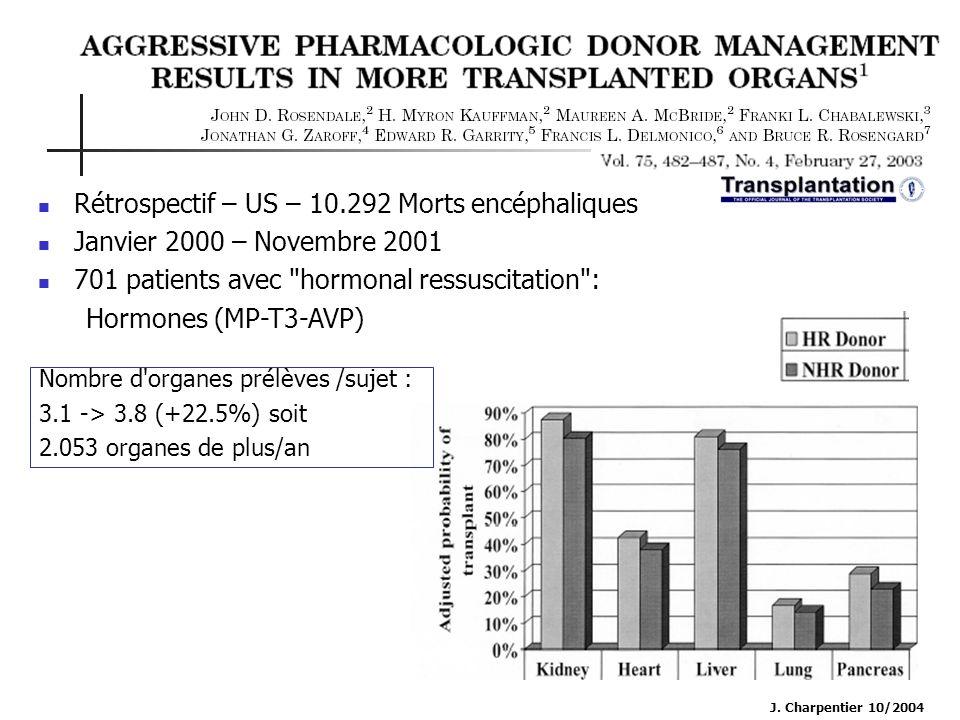 J. Charpentier 10/2004 Rétrospectif – US – 10.292 Morts encéphaliques Janvier 2000 – Novembre 2001 701 patients avec