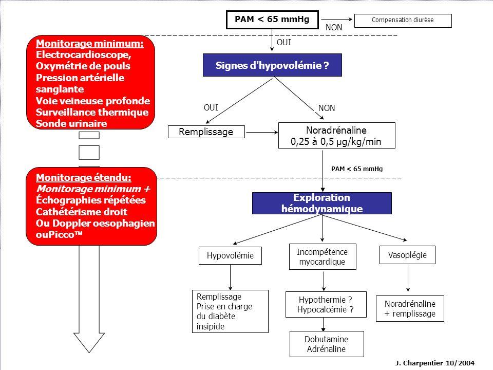 J. Charpentier 10/2004 OUI NON PAM < 65 mmHg Compensation diurèse Exploration hémodynamique Hypovolémie Incompétence myocardique Vasoplégie Monitorage