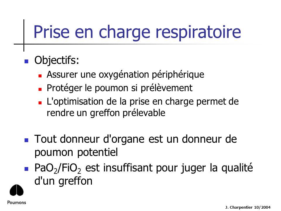 Prise en charge respiratoire Objectifs: Assurer une oxygénation périphérique Protéger le poumon si prélèvement L'optimisation de la prise en charge pe