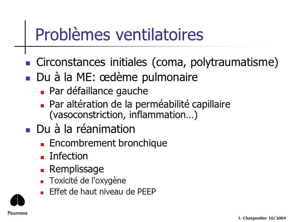 J. Charpentier 10/2004 Problèmes ventilatoires Circonstances initiales (coma, polytraumatisme) Du à la ME: œdème pulmonaire Par défaillance gauche Par