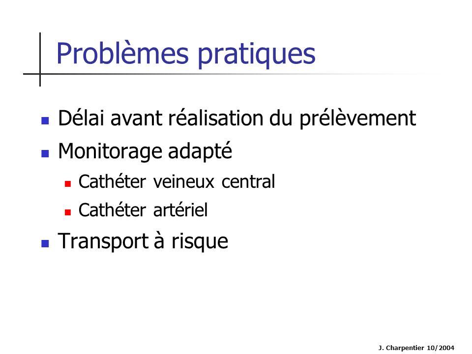 J. Charpentier 10/2004 Problèmes pratiques Délai avant réalisation du prélèvement Monitorage adapté Cathéter veineux central Cathéter artériel Transpo
