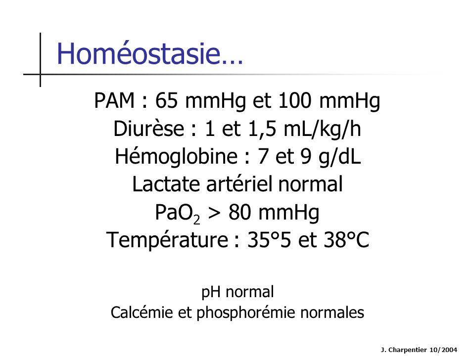 J. Charpentier 10/2004 Homéostasie… PAM : 65 mmHg et 100 mmHg Diurèse : 1 et 1,5 mL/kg/h Hémoglobine : 7 et 9 g/dL Lactate artériel normal PaO 2 > 80