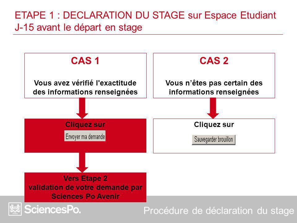 Procédure de déclaration du stage CAS 1 Vous avez vérifié l'exactitude des informations renseignées CAS 2 Vous nêtes pas certain des informations rens