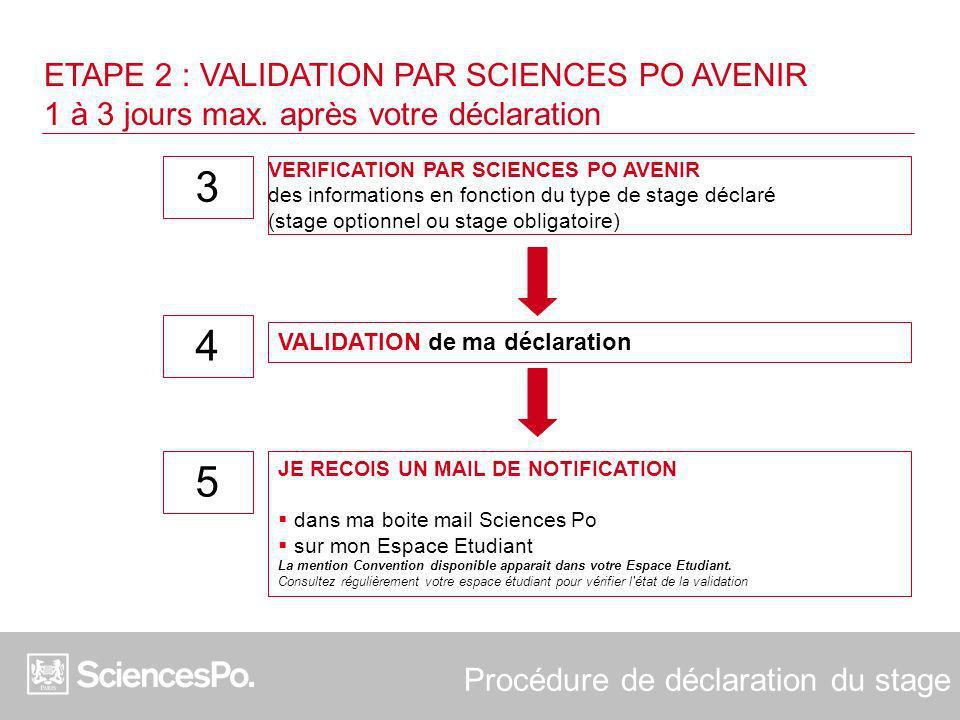 ETAPE 2 : VALIDATION PAR SCIENCES PO AVENIR 1 à 3 jours max. après votre déclaration VERIFICATION PAR SCIENCES PO AVENIR des informations en fonction