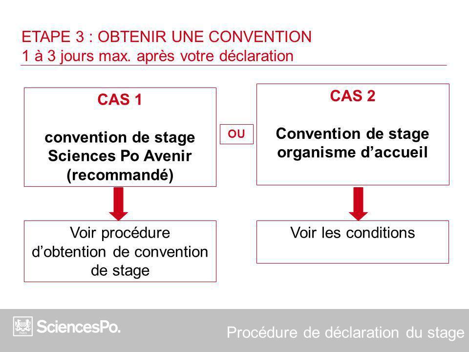 ETAPE 3 : OBTENIR UNE CONVENTION 1 à 3 jours max. après votre déclaration CAS 1 convention de stage Sciences Po Avenir (recommandé) CAS 2 Convention d