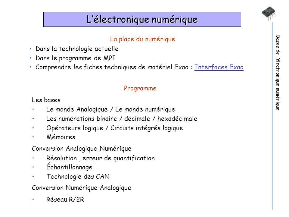 Bases de lélectronique numérique La place du numérique Dans la technologie actuelle Dans le programme de MPI Comprendre les fiches techniques de matér
