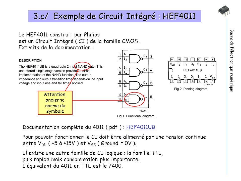 Bases de lélectronique numérique Le HEF4011 construit par Philips est un Circuit Intégré ( CI ) de la famille CMOS. Extraits de la documentation : Doc