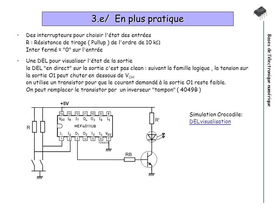 Bases de lélectronique numérique 3.e/ En plus pratique Des interrupteurs pour choisir l'état des entrées R : Résistance de tirage ( Pullup ) de l'ordr