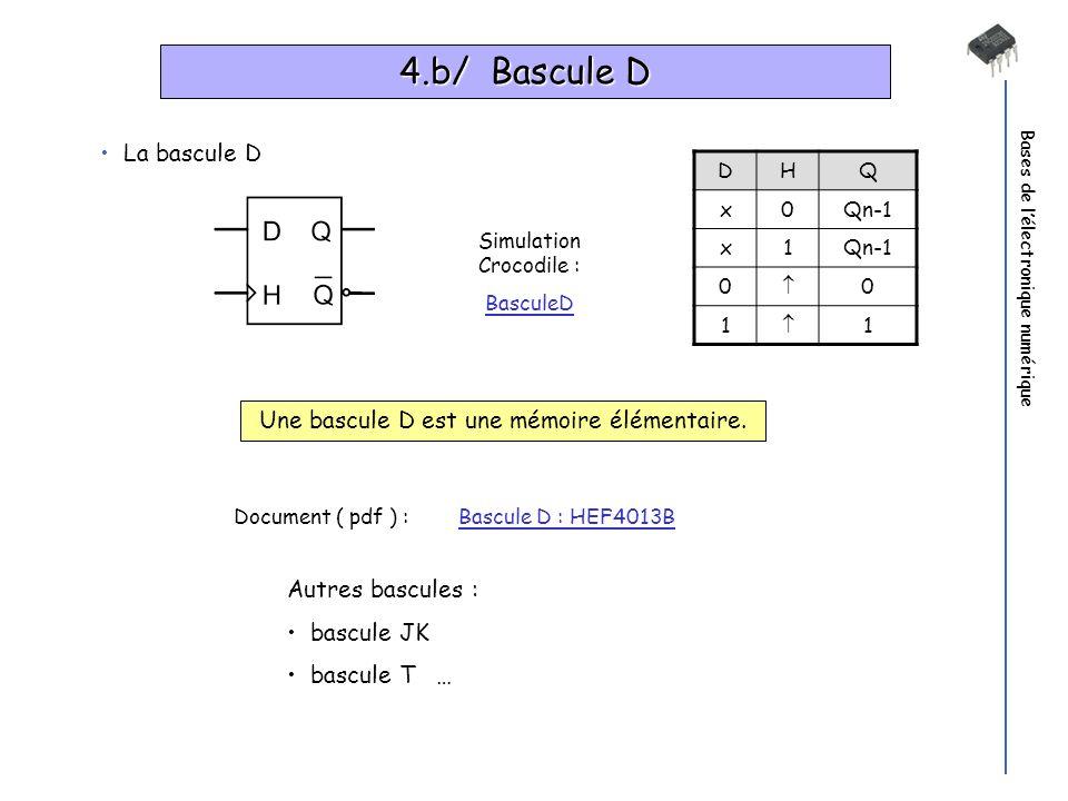 Bases de lélectronique numérique 4.b/ Bascule D DHQ x0Qn-1 x1 0 0 1 1 Une bascule D est une mémoire élémentaire. Document ( pdf ) : Bascule D : HEF401