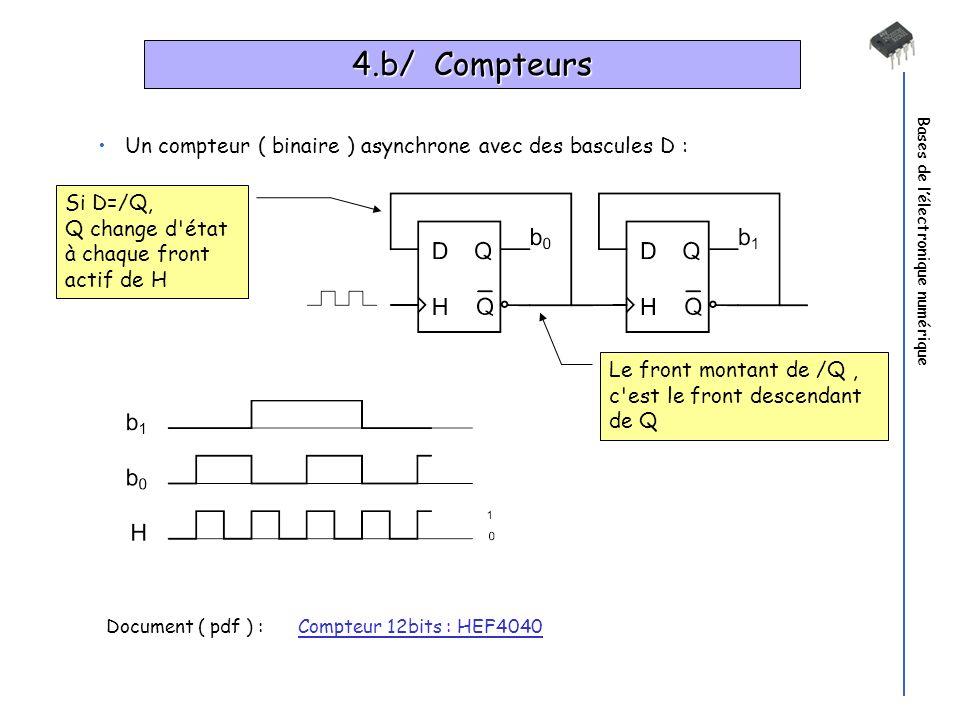 Bases de lélectronique numérique 4.b/ Compteurs Un compteur ( binaire ) asynchrone avec des bascules D : Document ( pdf ) : Compteur 12bits : HEF4040C
